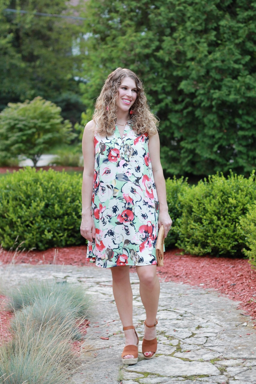 Pink Blush mint floral dress, Steve Madden wedges, straw clutch, second trimester maternity outfit
