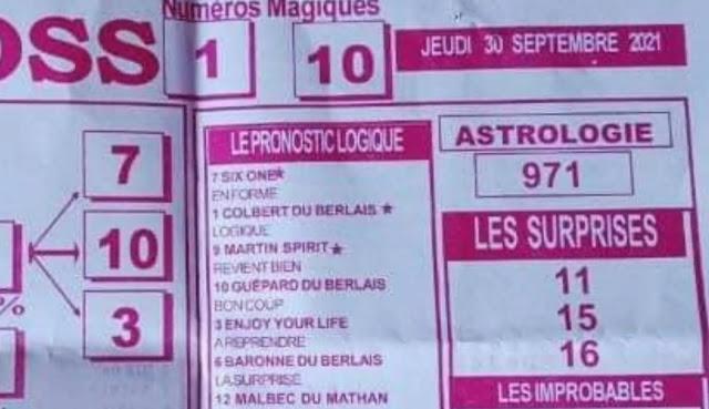 Pronostics quinté pmu jeudi Paris-Turf TV-100 % 30/09/2021