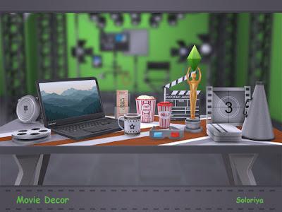 Movie Decor Кино декор для: The Sims 4 Все, что вам нужно для вашей киностудии или кинотеатра. Включает в себя 13 декоративных предметов. Черный, серый и коричневый цвета, 1-3 цветовых вариации для каждого объекта. Предметы в наборе: - билеты в кино - металлическая коробка - мегафон - декоративный ноутбук - обшивка - два вида бобин - Попкорн - напиток - кружка - симс оскар - 3D очки - кино-хлопушка для кадров. Автор: soloriya