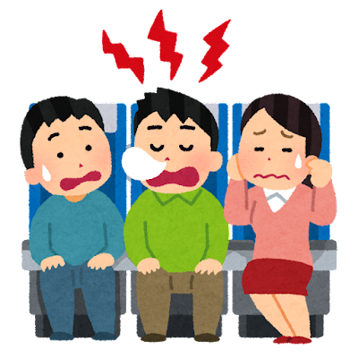 いびきがうるさい乗客のイラスト