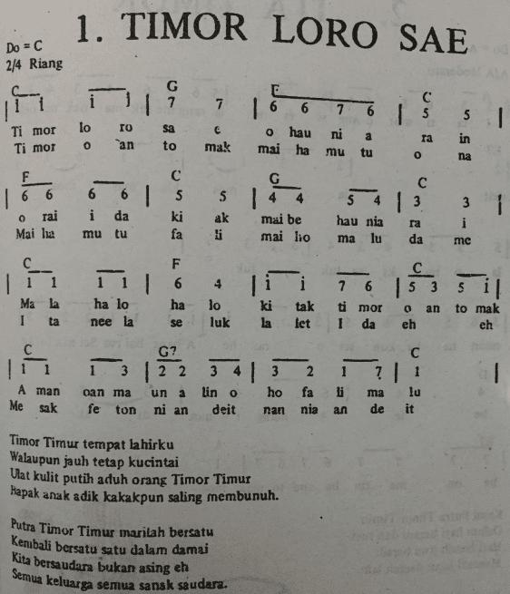 Not Angka Pianika Lagu Timor Loro Sae - Lagu Daerah