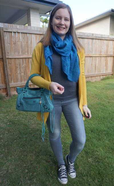 mustard cardigan with monochrome grey skinny jeans and tee outfit, converse, skull scarf and Balenciaga first bag | awayfromblue