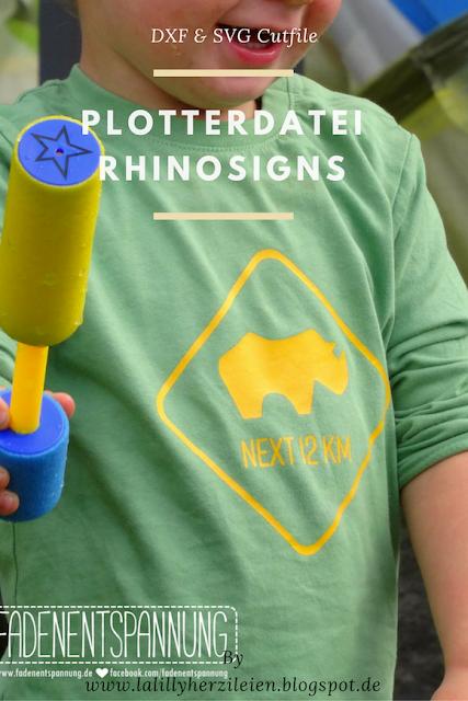Achtung Nashorn! Die Plottervorlage ist ein Cutfile im Stil eines Straßenschilds. Ein Hingucker für Damenkleidung, Herren- oder Kindershirts.