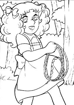 Dibujo de Candy cazando con su soga para colorear o pintar e imprimir