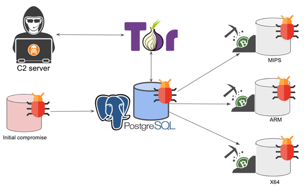 The image shows the process by which PGMiner exploits a disputed PostgreSQL RCE vulnerability. After initial compromise, the malicious payload is delivered via PostgreSQL, which communicates to the backend C2 servers through SOCKS5 proxies. After that, it downloads the coin mining payloads based on the system architecture.