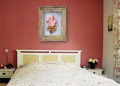 картина маслом Розы в интерьере