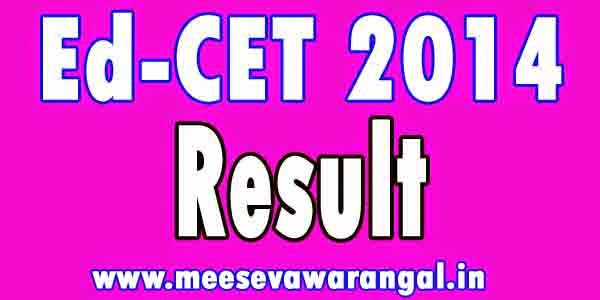EdCET 2014 REsults I B.Ed 2014 Results