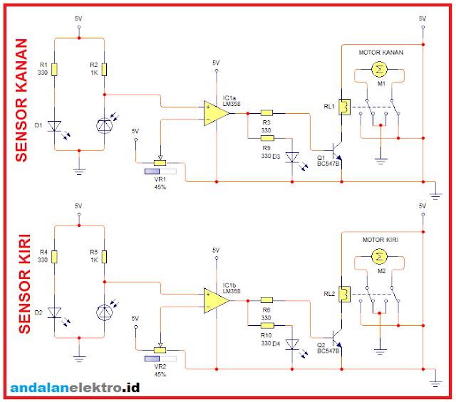 Robot line follower 2 sensor driver relay
