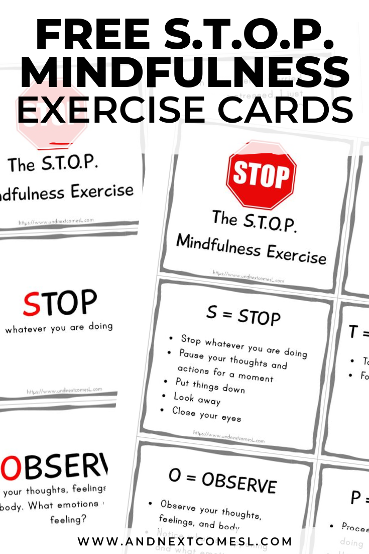 Free printable mindfulness cards and poster to teach the S.T.O.P. mindfulness exercise
