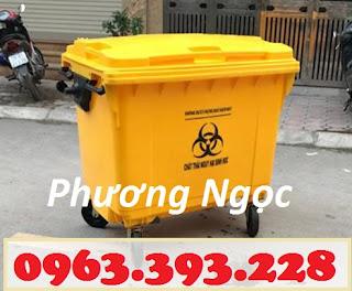 Thùng rác y tế 4 bánh 660L, xe gom rác y tế nhựa HDPE, xe thu gom rác thải y tế  YTTR660L4bx