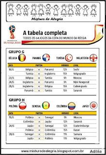 Atividade copa mundial 2018 tabela jogos