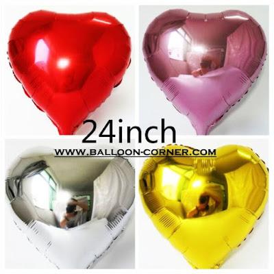 Balon Foil Hati / Foil Love Ukuran 24 Inch