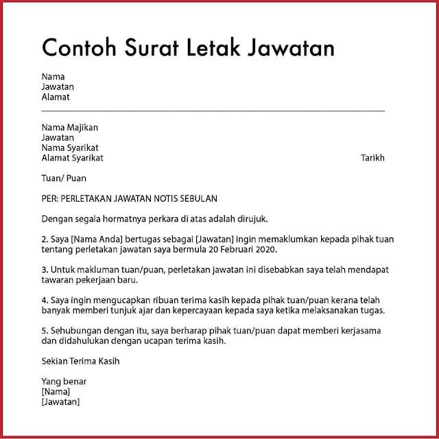 Contoh Surat Letak Jawatan (Bahasa Melayu)
