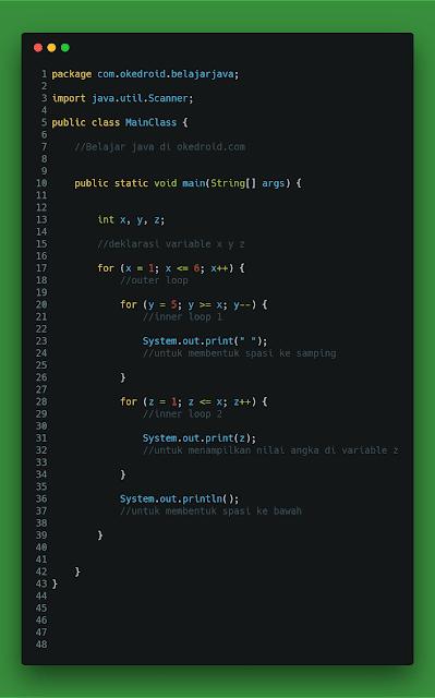 Contoh Code Program Cara Membuat Perulangan Angka Segitiga Siku-Siku Terbalik Java