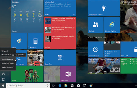 Spegnere o riavviare il sistema windows 10