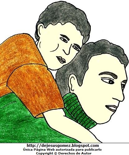 Dibujo de un papá cargando a su hijo  (Papá cargando a su hijo en la espalda). Dibujo de papa hecho por Jesus Gómez