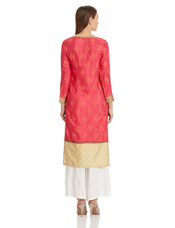 Red Golden W for Woman Kurta by  FashionDiya