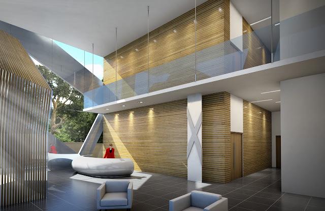 Perspective 3D du hall d'accueil