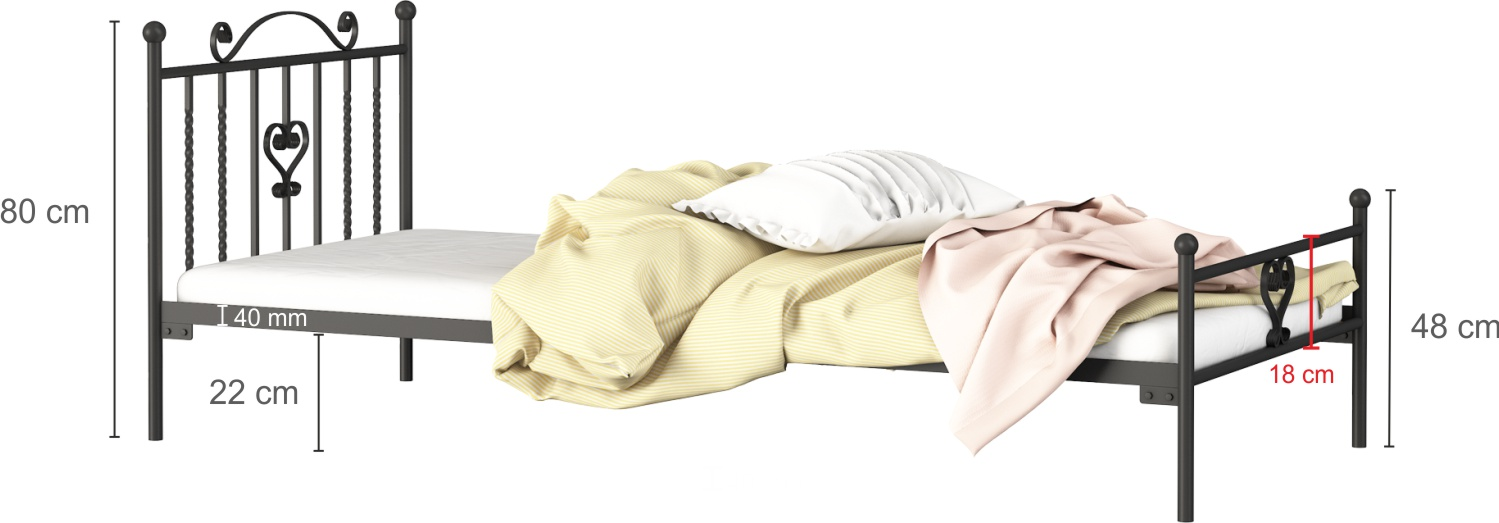Łóżko metalowe wzór 4J