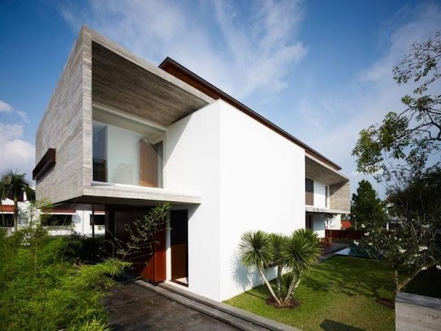 Perpaduan cat tembok tampak depan rumah rumah minimalis