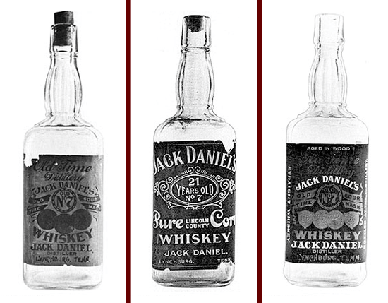 Jack Daniel's labeled bottles 1906 - 1910