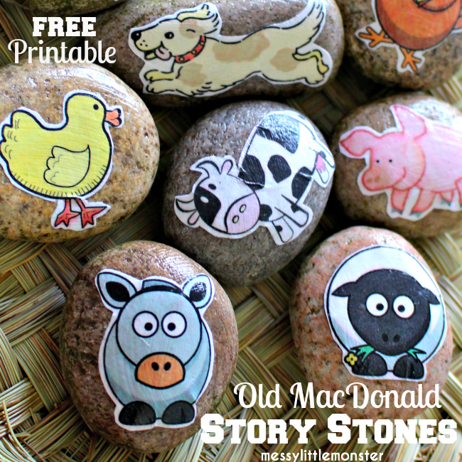 farm animal story stones craft for toddlers