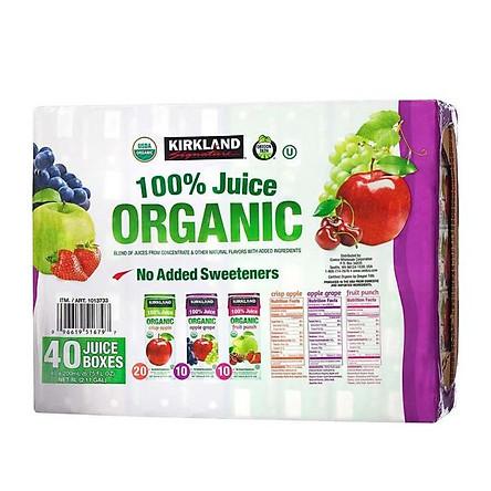 Nước ép hoa quả Kirkland 100% Juice Organic - 40 hộp