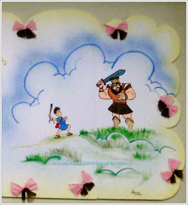 desenho de Davi lutando com Golias