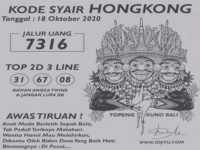 Kode syair Hongkong Minggu 18 Oktober 2020 169