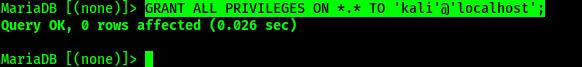 Otorgar permiso para el usuario de la base de datos MySQL en Kali Linux