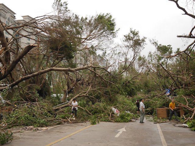 people making their way through debris from Typhoon Hato at the Bay Bar Street in Zhuhai