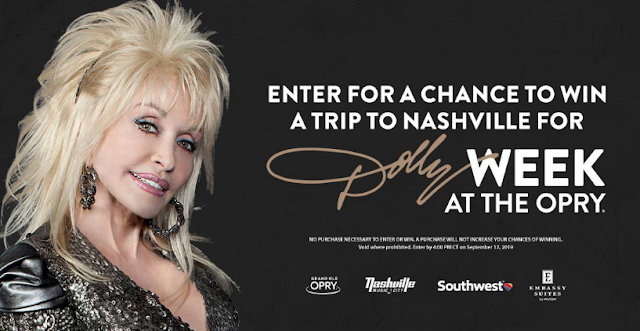 Here's a chance to enter to win a fantastic trip to Nashville during Dolly Week where you'll see Dolly Parton live at the Grand Ole Opry!