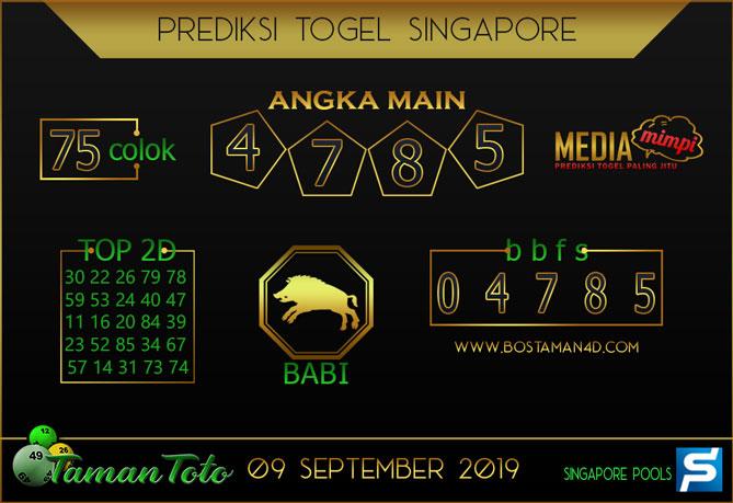 Prediksi Togel SINGAPORE TAMAN TOTO 09 SEPTEMBER 2019