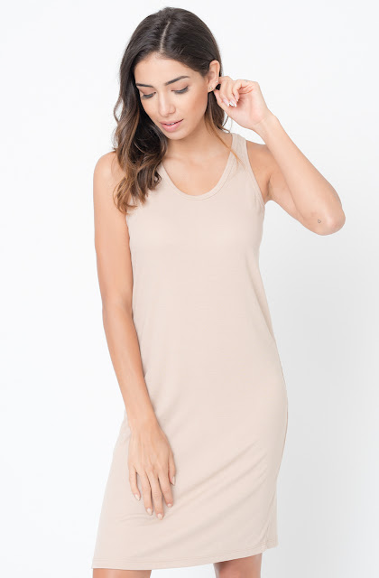 Buy Now Taupe Scoop Neck Ribbed Tank Dress Online -Final Sale- $20 -@caralase.com
