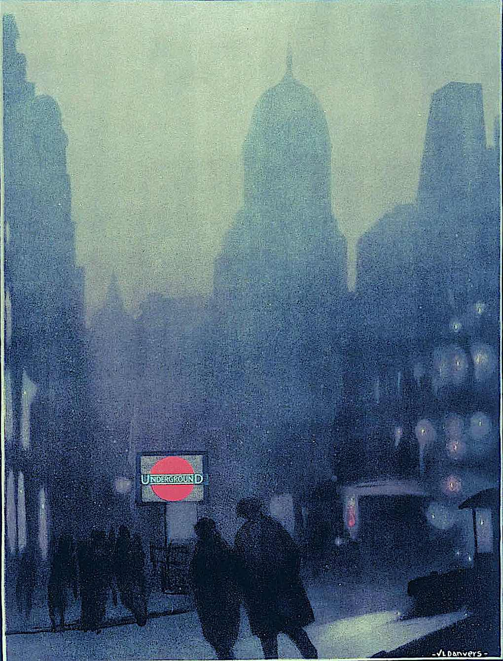 a Verney L. Danvers 1924 poster illustration of a London subway eantrance at foggy night