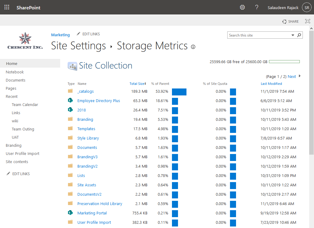 sharepoint online get document library size