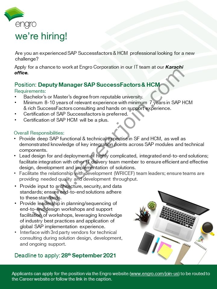 Engro Corporation Limited Jobs Deputy Manager SAP Success Factors & HCM 01 Press the Image to View Large & Clear Image Engro Corporation Limited Jobs Deputy Manager SAP Success Factors & HCM Register & Apply Online