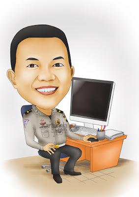 Karikatur Polisi Duduk dikursi