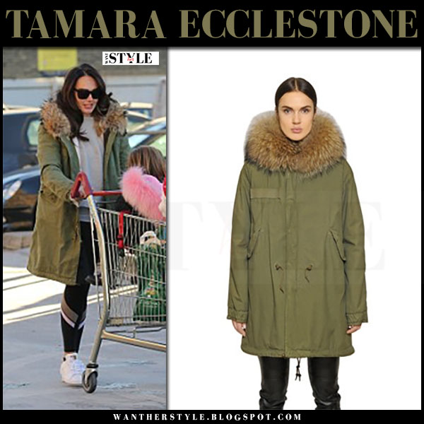 Tamara Ecclestone in army green canvas fur hood parka mr and mrs italy what she wore