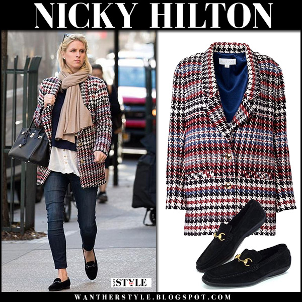Nicky Hilton in red houndstooth coat ellie mae, skinny jeans and black gucci loafers with black bag hermes birkin maternity fashion november 19