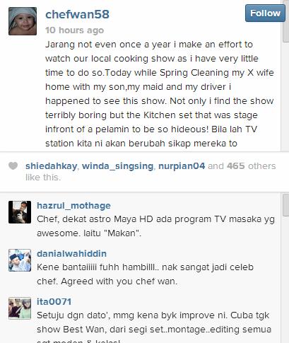 Mengkritik Program Dapur Panas Tv3 Chef Tersohor Di Malaysia Itu Mengecam Berkenaan Kerana Dirasakannya Tidak Berkualiti Dan Membuang Masa