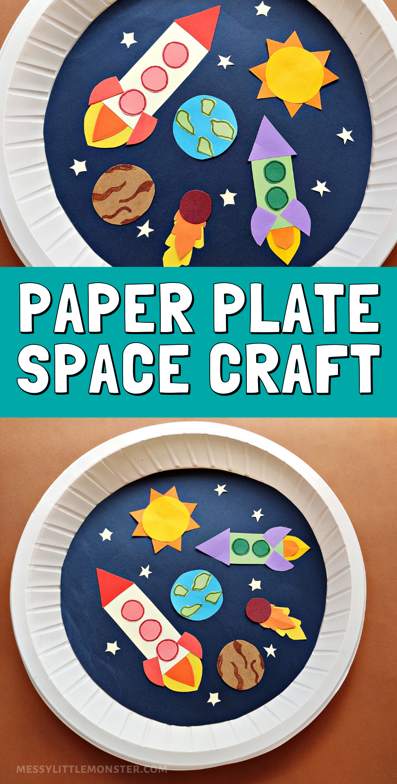 Space craft for kids. Paper plate craft.
