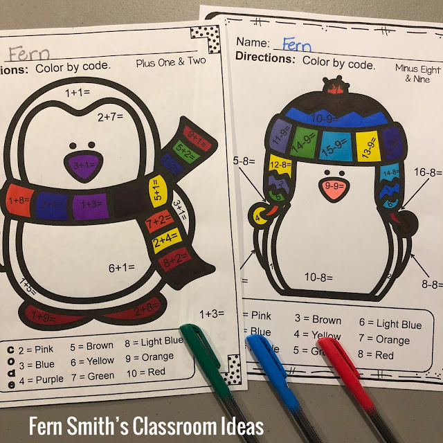 Winter Color By Number Addition and Subtraction Bundle at TeacherspayTeachers by Fern Smith of Fern Smith's Classroom Ideas.