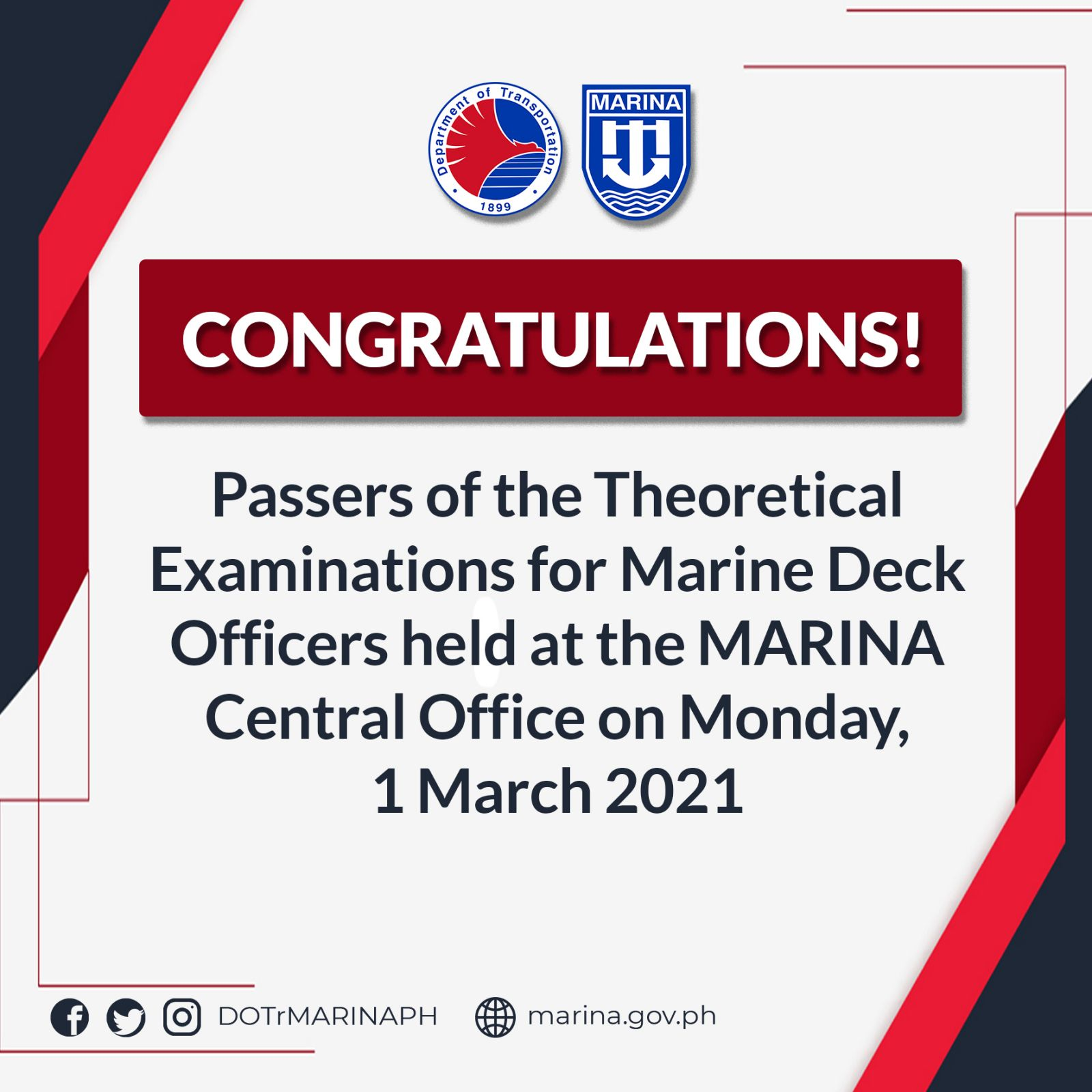 passers of the Theoretical Examinations for Marine Deck Officers conducted at the MARINA Central Office