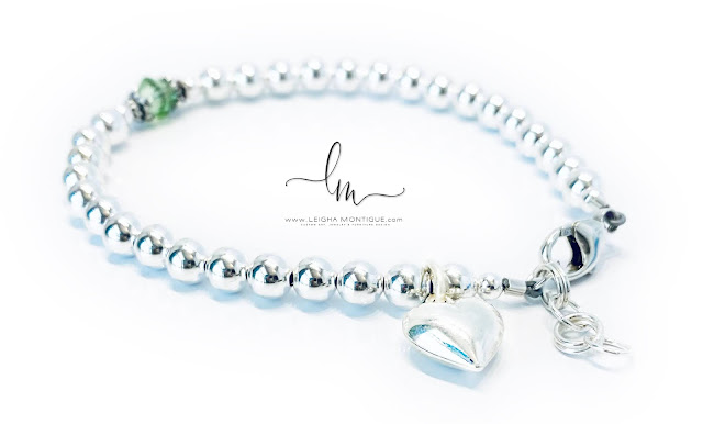 August Birthstone Bracelet with a Heart Charm
