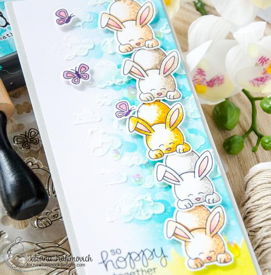Hoppy Together Bunny Card  by Tatiana Trafimovich | Bitty Bunnies Stamp Set & Cloudy Sky Stencil by Newton's Nook Designs #newtonsnook #handmade