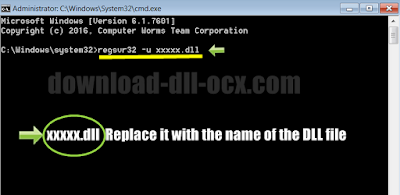 Unregister dll by command: regsvr32 -u dll