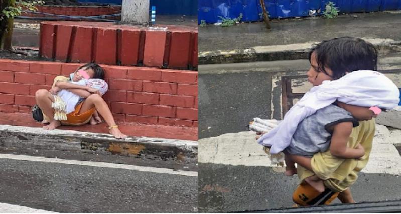 Dalawang batang magkapatid na magkayakap habang natutulog sa tabi ng kalsada umantig sa mga netizens