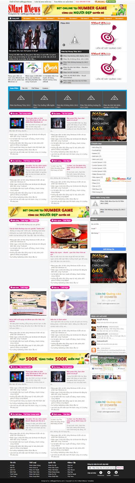 SMart BNews - Template tin tức tích hợp phim cho Blogspot