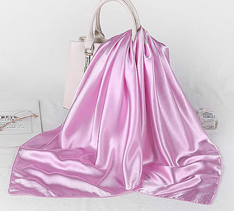 Best Plain Shiny Pink Satin Scarves